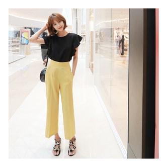 韩国MAGZERO [新品] 高腰百搭阔腿裤 #黄色 大号(L/28-29)