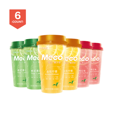 【Value Set】 XIANGPIAOPIAO Meco Fruit Tea Pack of 6 Peach Red Pomelo Tea*2 Thai Lime Tea*2 Tangerine Lemon Tea*2
