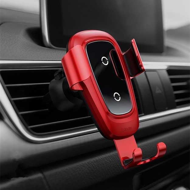 Product Detail - RAMBLE Qi Wireless Charger Car Holder For iPhone X 8 Samsung S9 Plus Mobile Phone Stand Air Vent Mount Holder Red 1pc - image 0