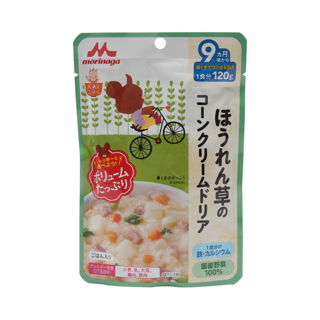 Product Detail - MORINAGA MILK Volume Spinach Corn Cream Doria With Chicken Liver Baby Food 120g - image 0