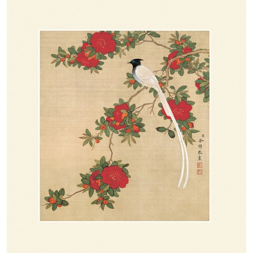 INKWASH Chinese Red Camellia Flowers and Bird Wall Art - Yamibuy.com