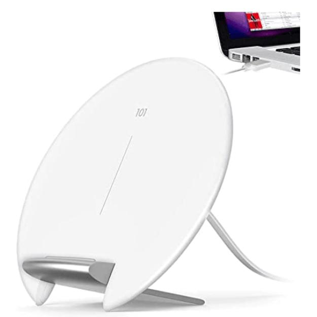 商品详情 - Bseah无线充电器Qi认证的10W最大快速无线充电兼容的iPhone 11/11 Pro Max / X / XR / XS Max / XS / 8 Plus无线充电器支架白色(无AC适配器) - image  0