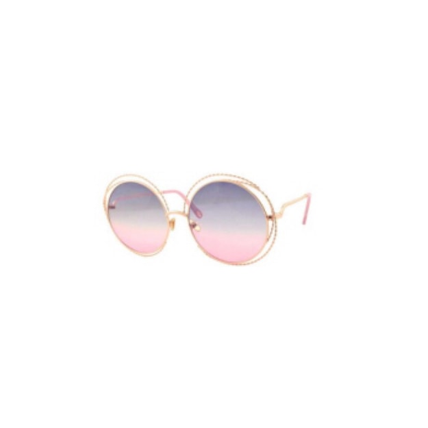 Product Detail - RETRO POP Fashion Sunglasses 8167 Gold Frame/Blue&Pink Lens - image 0