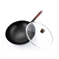 NARITA Carbon Steel Non Stick Wok with Glass Lid 32cm Induction Gas Electric NW-232