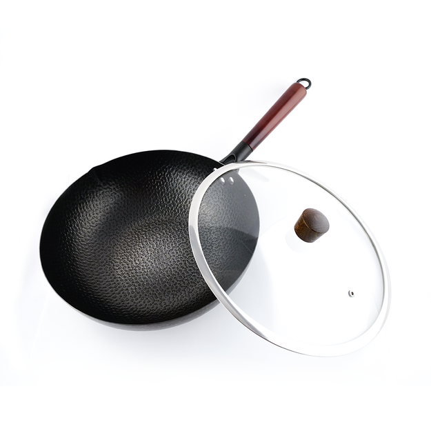 Product Detail - NARITA Carbon Steel Non Stick Wok with Glass Lid 32cm Induction Gas Electric NW-232 - image 0