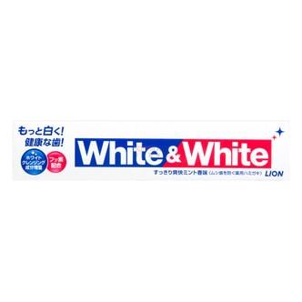 日本LION狮王 WHITE&WHITE特效美白牙膏 薄荷味 150g