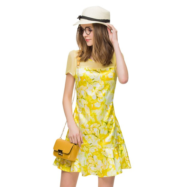 Product Detail - BIRRYSHOP fitted A-line printed ruffle bottom chiffon dress Yellow S - image 0