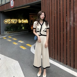PRINSTORY 2019 Spring/Summer Elegant Knitting Set Cream/M