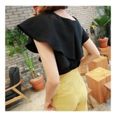 KOREA MAGZERO Wings Shirring Blouse Black One Size(S-M) [Free Shipping]