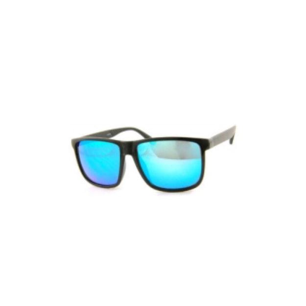 商品详情 - RETRO POP 时尚太阳镜 26009 黑色镜框/蓝色镜面 - image  0