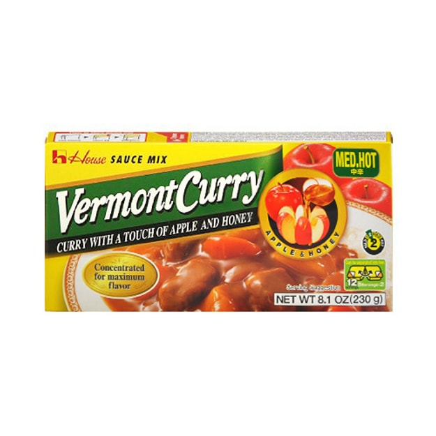 HOUSE FOODS Vermont Curry With A Touch Of Apple And Honey 230g Med.Hot