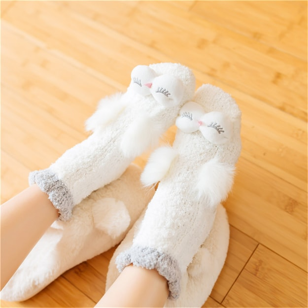 Product Detail - UNIQUEWHO Home Bed Floor Socks for Girls Women Cute Animal Owl Thicken Non-slip Socks White 1 Pair - image  0