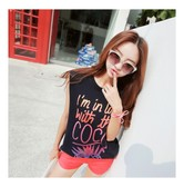 KOREA MAGZERO Gradient Letters Print Sleeveless T-shirt Navy One Size(Free) [Free Shipping]