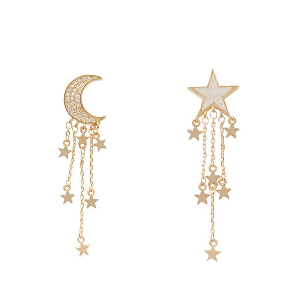 Product Detail - 925 silver needle xingyue asymmetrical tassel earrings Korean version of high quality joker super fairy earrings - image 0