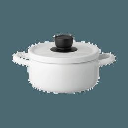 FUJIHORO||Solid 纯色家用煮汤双耳炖锅||白色 20cm 1个