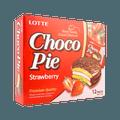 韩国LOTTE乐天 巧克力草莓奶油夹心派 12枚入