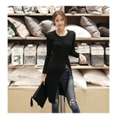 KOREA MAGZERO High Slit Ribbed Knit Top with Belt Black One Size(S-M) [Free Shipping]