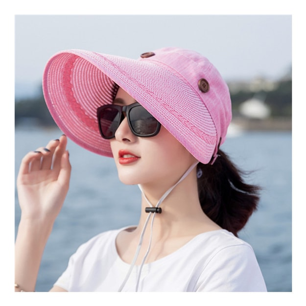Product Detail - TIMESWOOD Detachable Empty Top Hat Visor Outdoor Big Beach Hat Summer Sun Hat Pink Rose 1PC - image 0