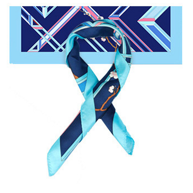 Product Detail - THE PALACE MUSEUM Silk Scarf #Light Blue Frame & Dark Blue - image 0