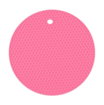 GOOD HOUSEKEEPING Round Honeycomb Silicone Heat Insulation Mat Pad 2 Pieces Random Color