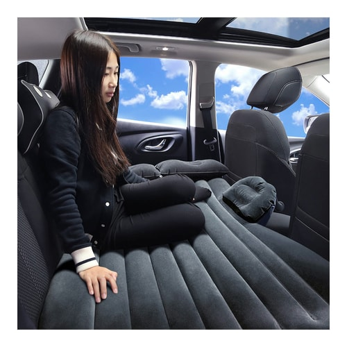 LORDUPHOLD Car Inflatable Mattress Travel Camping Back Seat Sleep Rest With Air Pump Accessories