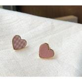 【韩国直邮】CHERRYKOKO Korean Heart-shaped plaid earrings pink  free