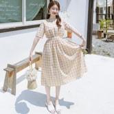【韩国直邮】ATTRANGS 格纹收腰连衣裙 黄色 均码