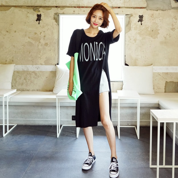 Product Detail - WINGS Side-Slit Midi Tunic T-Shirt #Black One Size(Free) - image 0