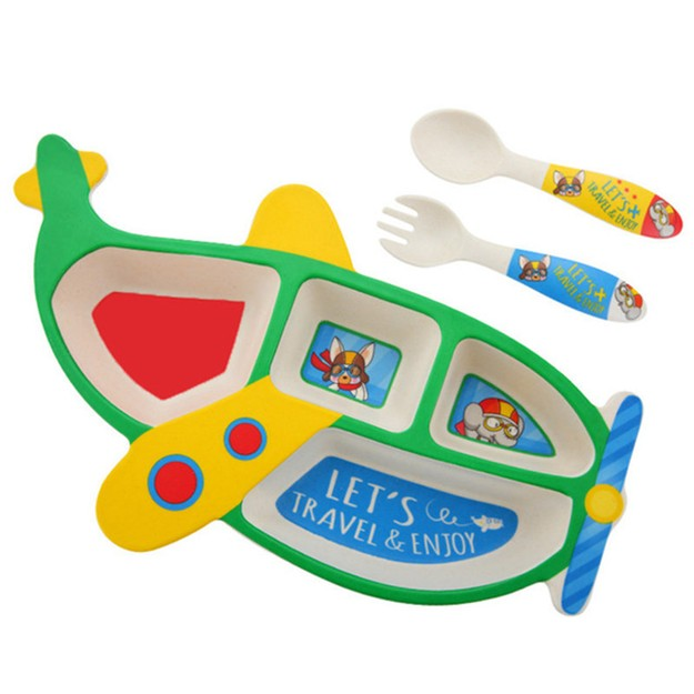 Product Detail - TIMESWOOD Bamboo Fiber Children\'s Tableware Cartoon Aircraft Grid Plate With Fork Spoon Three-piece Set Green1Set / 3pcs - image 0
