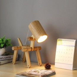Wooden Dog Table Lamp Bedside Lamp Movable Joint