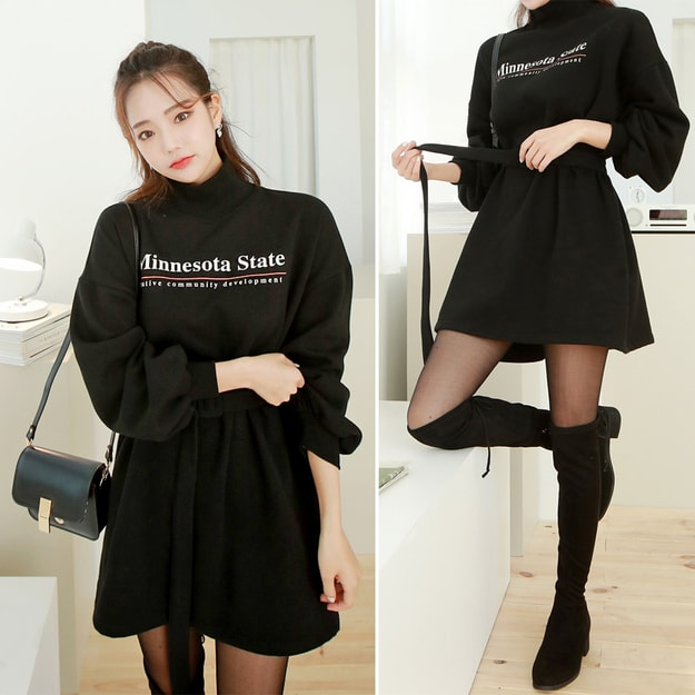 Product Detail - SSUMPART Belted High Neck Mini Dress #Black One Size(S-M) - image 0