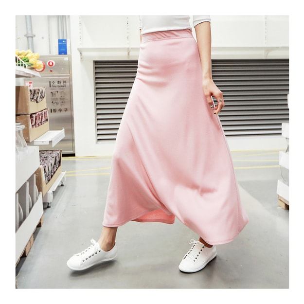 KOREA MAGZERO Natural Soft Long Skirt Pink One Size(S-M) [Free Shipping]