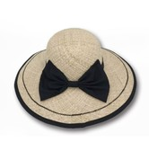 ACCESS HEADWEAR Wide Brim 100% Raffia Summer Bowler Bow-knot Hat Women #Beige One Size