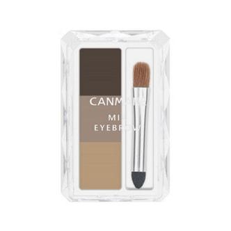 日本CANMAKE 自然三色立体眉粉带刷 #03布朗色