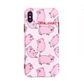 乐学办公  平铺可爱小猪苹果iPhoneX少女心手机壳粉色