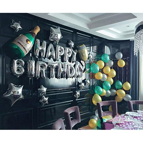 PuTwo Birthday Balloons 16 Inch Foil Happy Helium Set 25Pcs