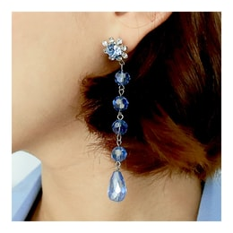 [KOREA] MAGZERO Cubic and Crystal Linear Earrings #Blue [免费配送]