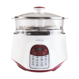 【Pre-order-Ship in 5~15 Days】SONYA Multi Function 3 in 1 Ceramic Smart Electric Slow Stew Pot 2.2L With Steam Tray