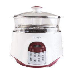 SONYA Multi Function 3 in 1 Ceramic Smart Electric Slow Stew Pot 2.2L With Steam Tray