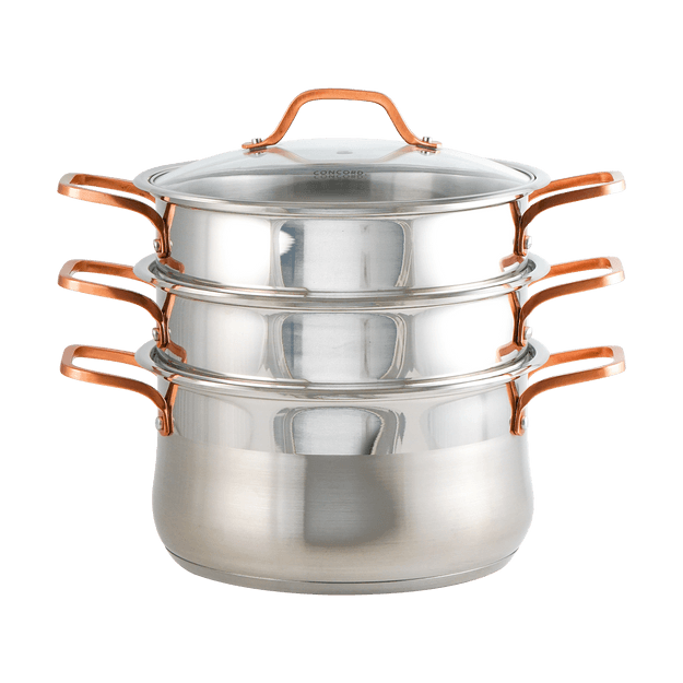 Product Detail - 26cm 304 Stainless Steel 3 Tier Steamer Steaming Pot 4pcs INDUCTION COMPATIBLE - image  0