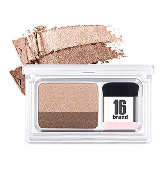 16BRAND Eye Magazine Dual Color Eye Shadow with Brush #02 Hello Monday 1pc
