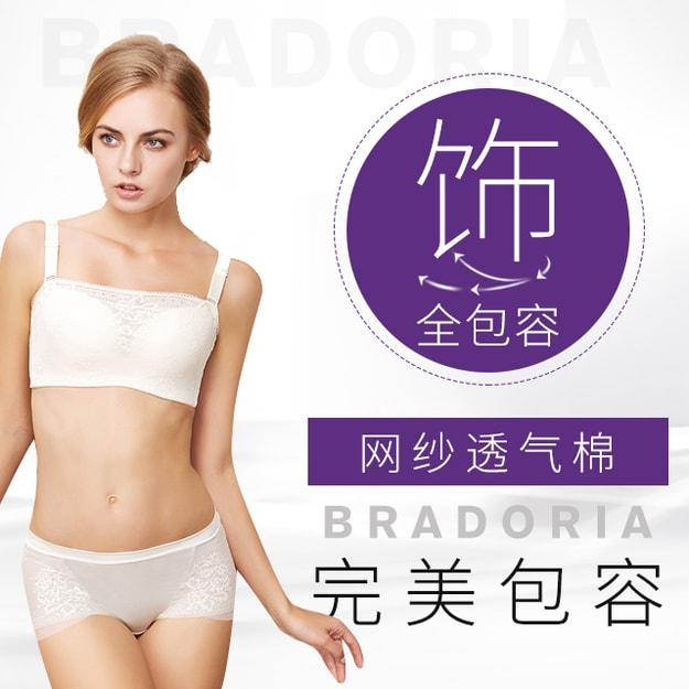 商品详情 - 美国 BRADORIA 蕾丝抹胸式调整型文胸 米白色 90B #11311 - image  0