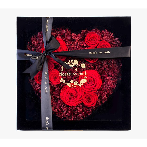 Product Detail - Flora\'s Oath Eternal roses A.D. Mulberry heart-shaped rose in black box - image 0