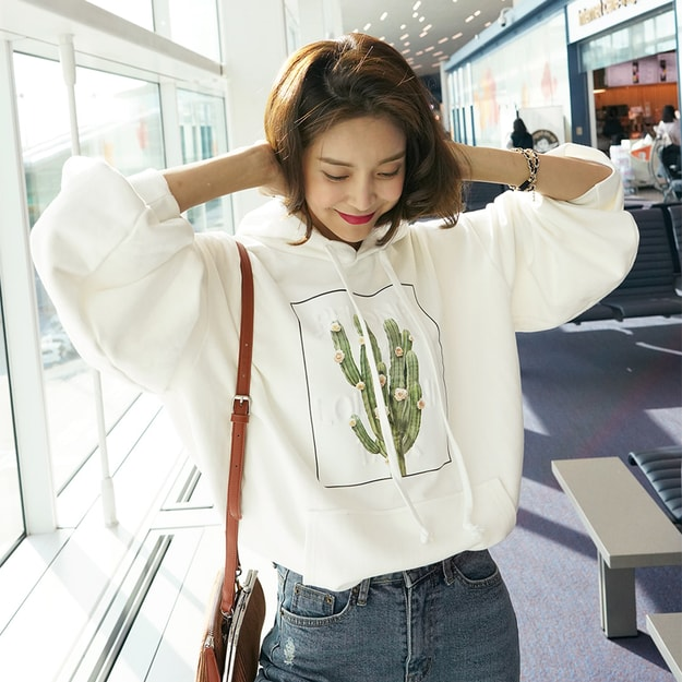 Product Detail - WINGS Embossed Cactus Hoodie #Ivory One Size(Free) - image 0