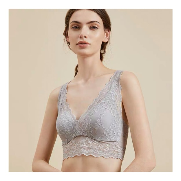 Product Detail - JINSANT Real Silk Lace Vest-style Underwear No Trace Breathable Strapless Bra NZF9C307 #Off-white XL - image  0