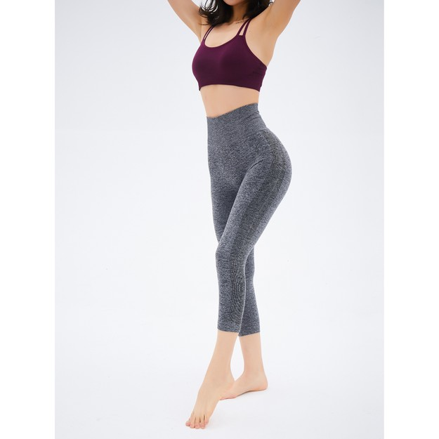 Product Detail - RUNNING STONE 3/4 Length Yoga Compression Tights #Gray S - image 0