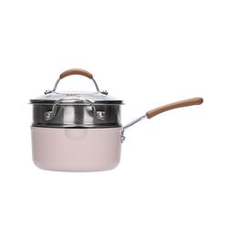 网易严选多色可选多功能锅 一锅多用轻松烹饪 奶锅 (粉色)18cm+蒸笼