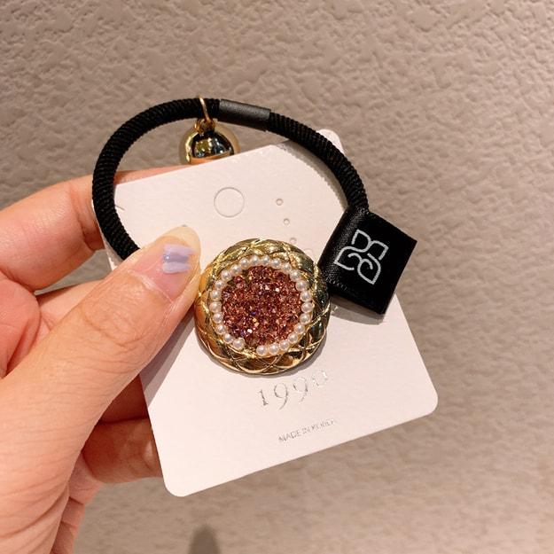 商品详情 - 灰姑娘精选 珍珠发圈圆形满钻头绳 #粉色 - image  0