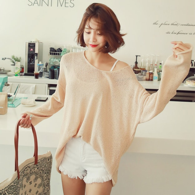 WINGS Oversized V-Neck Tunic Knit Top #Beige One Size(Free)