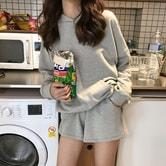 MOMO&MOLLY 韩国早秋连帽卫衣松紧腰短裤运动套装 灰色 均码
